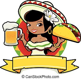 Vector illustration of a Mexican woman holding a cold beer and a taco.