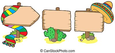 Mexican wooden signs - isolated illustration.