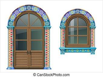 Mexican wooden window and doors