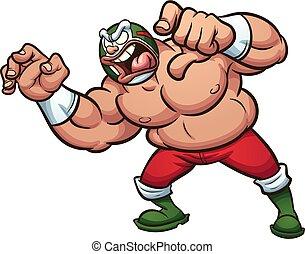 Mexican Wrestler - Angry fat cartoon Mexican wrestler...
