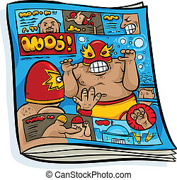 Mexican Wrestling Magazine - A cartoon of a Mexican...