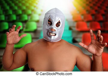 mexican wrestling mask silver fighter gesture