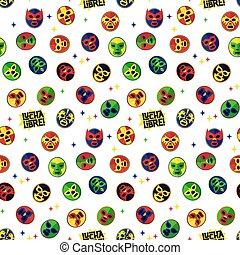 Mexican wrestling. Seamless Pattern.