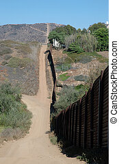 MexicanBorderWall - US-Mexico border wall with dirt road...