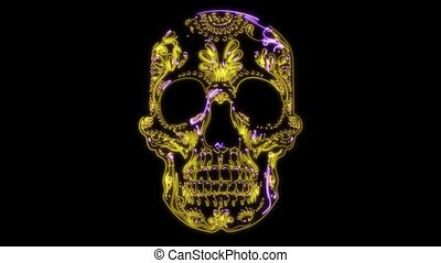 mexicane skull video animiation laser - mexucane skull head...