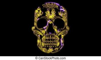 mexicane, vidéo, laser, crâne, animiation