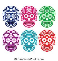 mexicano, açúcar, cranio, em, cor