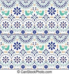 mexicano, arte popular, vector, seamless, patrón, con, aves, y, flores, colorido, fiesta, diseño, inspirado, por, tradicional, forma de arte, méxico