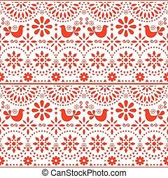 mexicano, arte popular, vector, seamless, patrón, con, aves, y, flores, rojo, fiesta, diseño, inspirado, por, tradicional, forma de arte, méxico