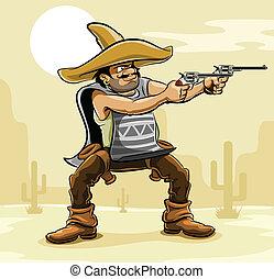 mexicano, bandido, con, arma de fuego, en, pradera