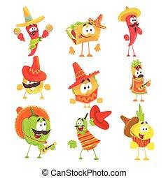 mexicano, caracteres, bailando, alimento, serie, nacional, caricatura, maracas, guitarras, sonriente, fresco, vegetales, ropa