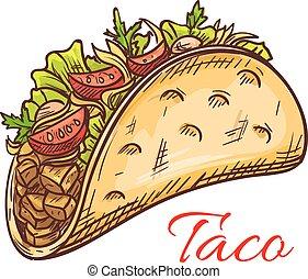mexicano, carne, taco, com, legumes frescos, esboço