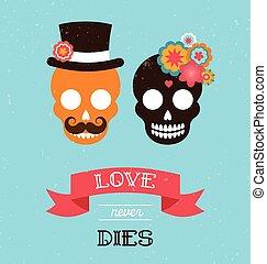 mexicano, casório, dois, hipster, convite, crânios