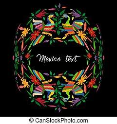 mexicano, central, composição, bordado, circular, texto, têxtil, espaço, estilo, hidalgo, tradicional, tenango, pavão, isolado, pássaros, m?xico., coloridos, cópia, cidade, floral