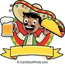 mexicano, cerveja, ilustração, taco., vetorial, segurando,...