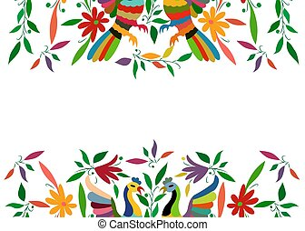 mexicano, cidade, quadro, seamless, estilo, espaço, isolado, têxtil, bordado, branca, composição, pavão, coloridos, tenango, fundo, floral, cópia, pássaros, hidalgo, m?xico., tradicional, ou