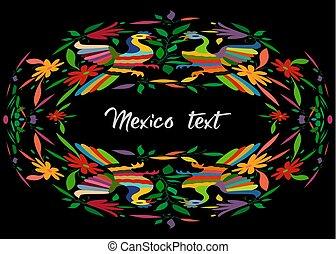 mexicano, cidade, texto, estilo, espaço, isolado, têxtil, hidalgo, pretas, bordado, composição, circular, pavão, coloridos, tenango, floral, cópia, pássaros, central, mexico., tradicional, ou