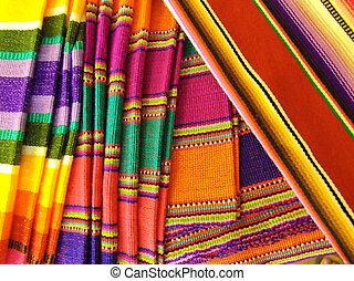 mexicano, cobertores, coloridos