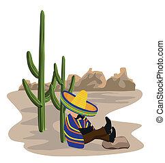 mexicano, cochilando, em, a, deserto