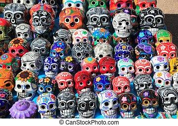 mexicano, coloridos, cerâmico, morto, crânios, dia