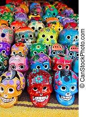 mexicano, coloridos, morto, aztec, crânios, dia