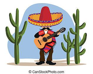 mexicano, com, guitarra