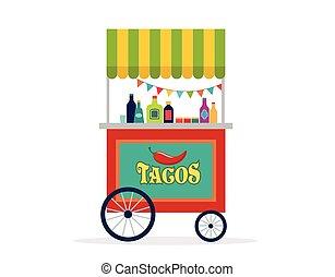 mexicano, comida de calle, carrito, aviador, cartel, bandera, y, plano de fondo