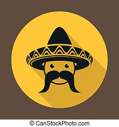 mexicano, con, sombrero