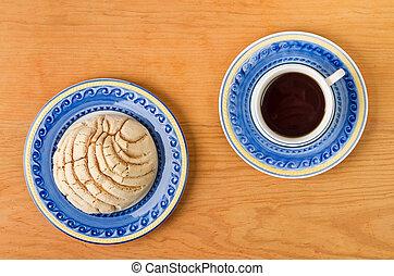 mexicano, concha, pão doce, com, xícara café
