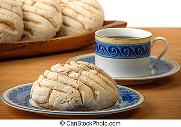 mexicano, conchas, pão doce, com, xícara café