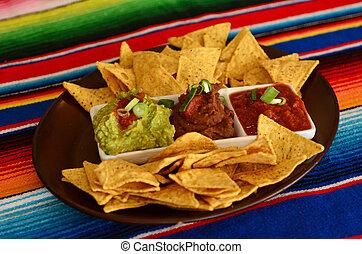 mexicano del alimento, nachos, -