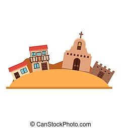 mexicano, desenho, isolado, vetorial, centro cidade
