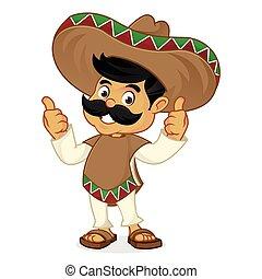 mexicano, desistimiento, pulgares, caricatura, hombre