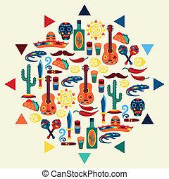 mexicano, diseño, plano de fondo, étnico, style., nativo