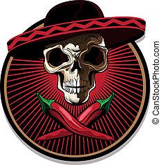 mexicano, emblema, ou, cranio, ícone