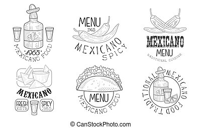 Mexicano Food Hand Drawn Retro Labels Set, Traditional Spicy...