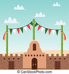 mexicano, galhardete, desenho, centro cidade, vetorial, bandeira