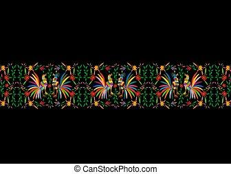 mexicano, galos, impressão, pretas, ou, composição, bordado, têxtil, estilo, tradicional, isolado, mexico., pavões, fundo, pássaros, coloridos, quadro, floral, seamless, modelo, selva