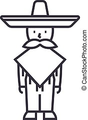 mexicano, golpes, ilustración, mariachi, hombre, vector, editable, señal, línea, plano de fondo, icono
