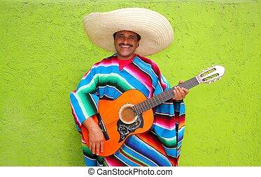 mexicano, guitarra, típico, poncho, tocando, homem