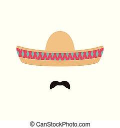 mexicano, hombre, con, sombrero, y, mustache.