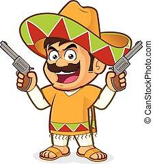 mexicano, hombre, tenencia, dos, armas de fuego