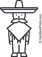 mexicano, hombre, vector, línea, icono, señal, ilustración,...