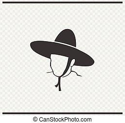 mexicano icon black color on transparent