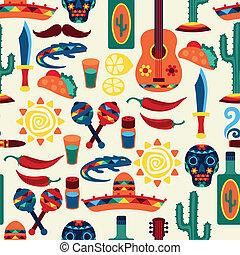 mexicano, iconos, patrón, seamless, style., nativo