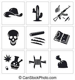 mexicano, iconos, vector, conjunto, cartel