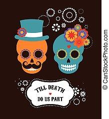 mexicano, invitación boda, con, dos, hipster, cráneos