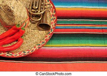 mexicano, méxico, mayo, de, fiesta, tapete, cinco, serape, pimentão, poncho, trompete, pimentas