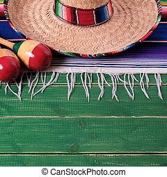 mexicano, méxico, sombrero, mayo, de, fiesta, cinco, madeira, fundo