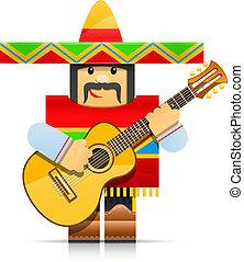 mexicano, mann, origami, spielzeug